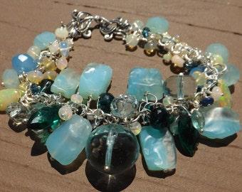 REDUCED! Ethiopian Opal and Gemstone Cluster Bracelet in Sterling Silver