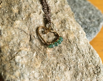 Bronze Heart with Swarovski Crystal