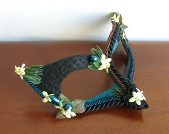 Masquerade Mask, Giraffe Print, Bird Mask, Turquoise Suede - Jungle Fever