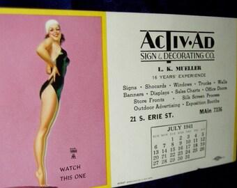 Antique 40s EARL MORAN Pinup 1941 Calendar Ink Blotter Retro Advertising