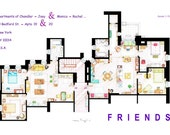 "PRINT of Monica-Rachel & Chandler-Joey Apartments from ""FRIENDS"""