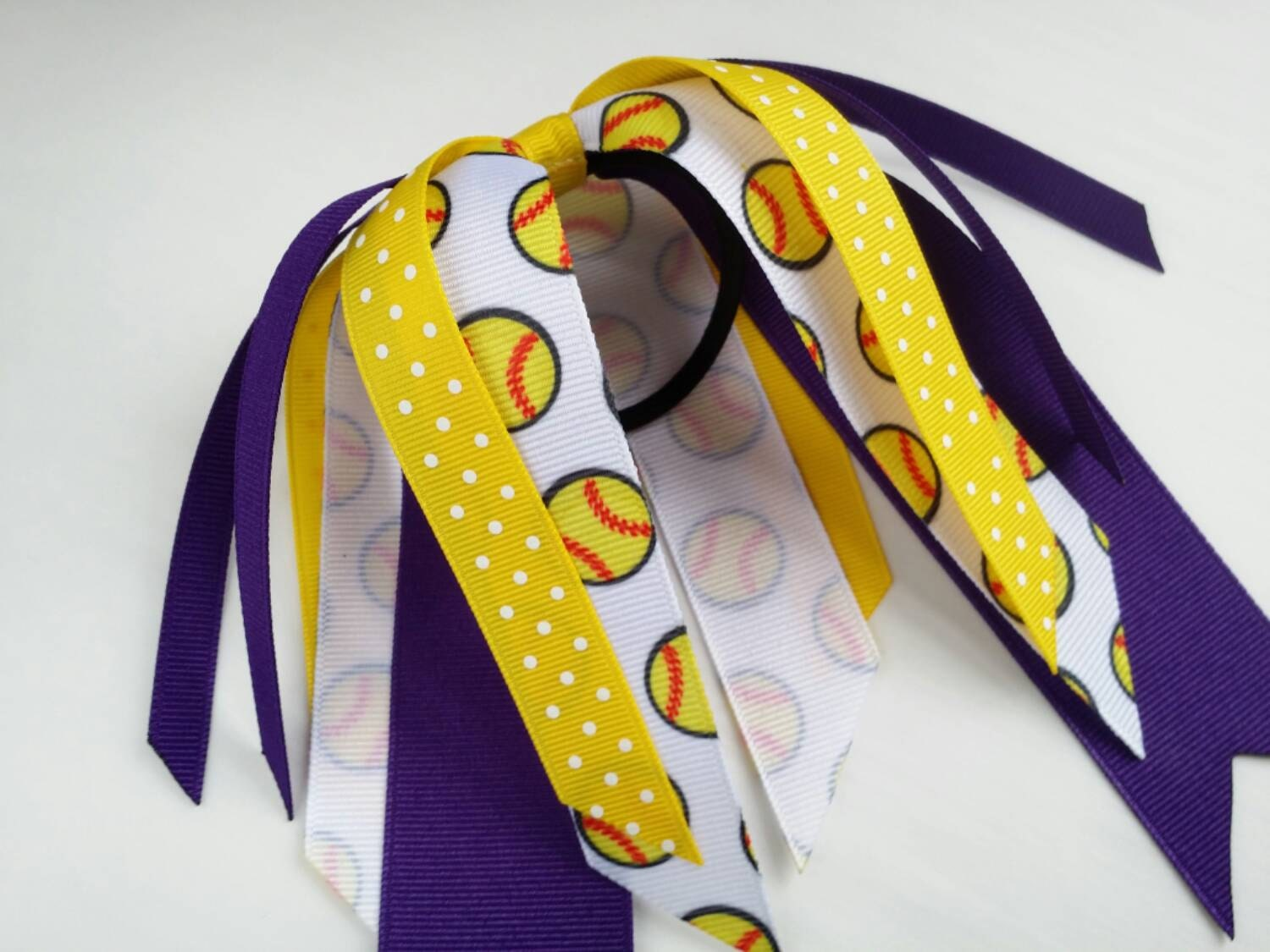 foto de Purple and yellow softball hair ribbons team hair bows polka