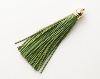 4001011 / Forest Green / Genuine Leather Tassel / 16k Gold Plated Brass Cap 12mm x 98mm / 7.5g / 60strands / 1pcs