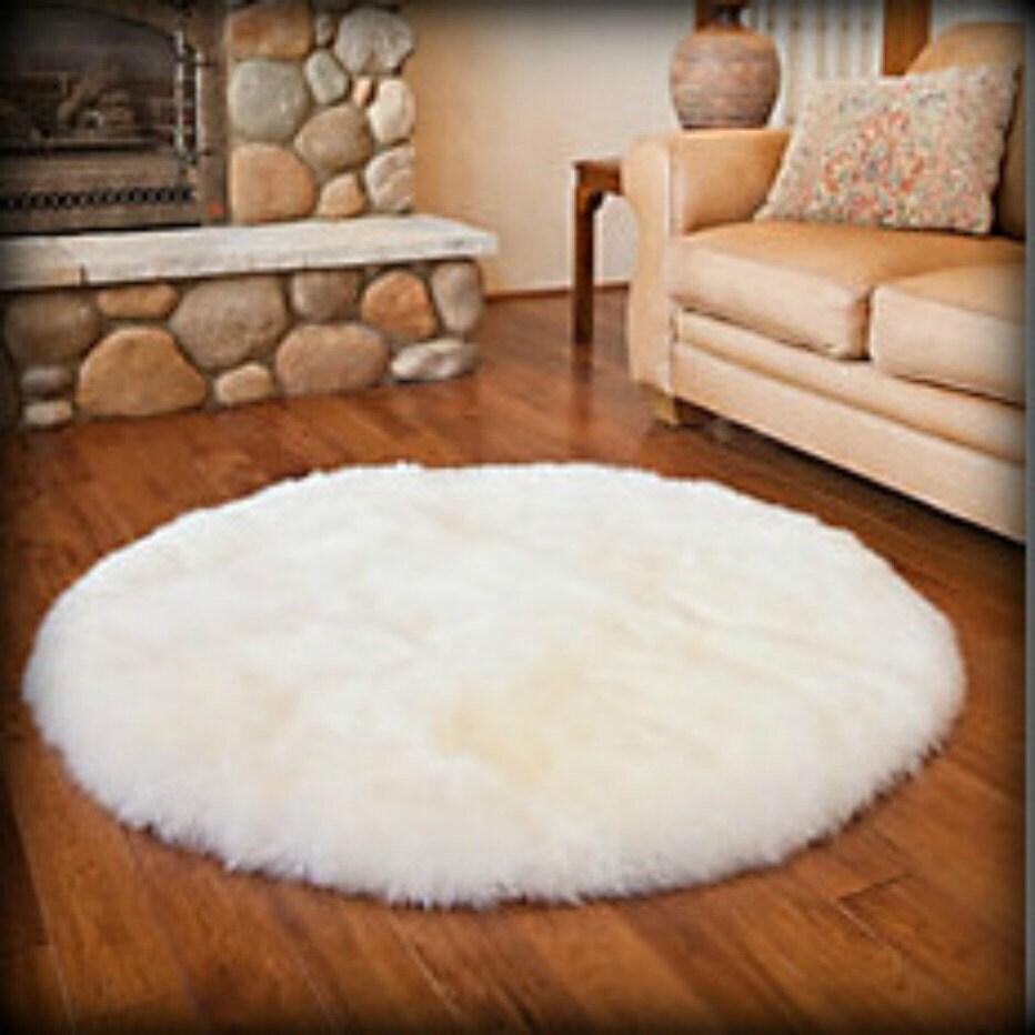 Round Rug Faux Fur Shag Sheepskin Flokati / Shaggy Fake