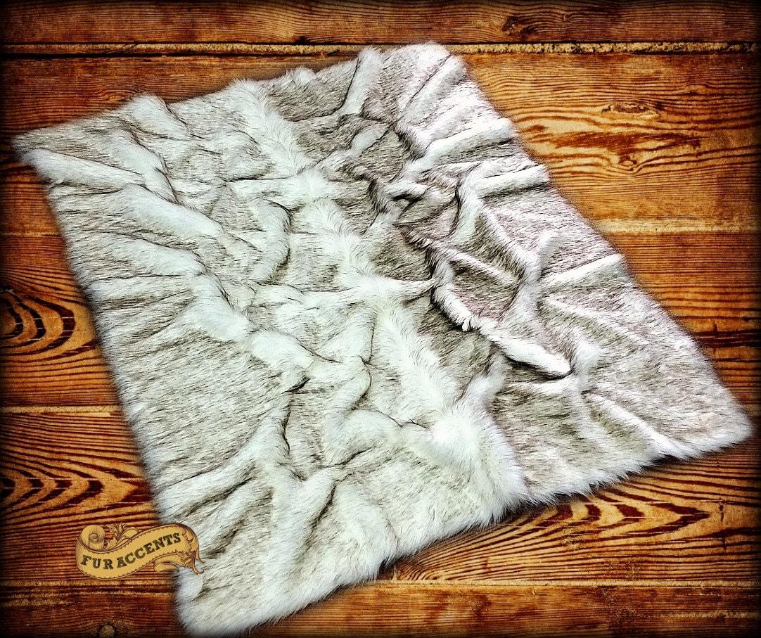 FUR ACCENTS Faux Fur Rug Russian Wolf / Bear Pelt By