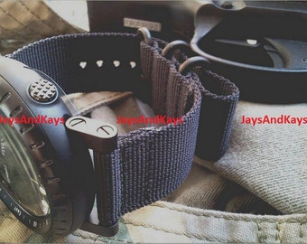 JaysAndKays® Suunto Core 2-Piece Ballistic Nylon Diver Strap Kit with Lugs Adapters 24mm Zulu PVD Black Brown Green Grey Red Orange Bond