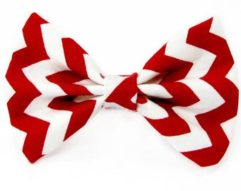 Red chevron dog bow tie & cat bow tie, red and white
