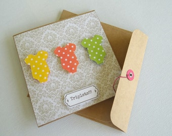 onesie. triplets. triplet gift card. baby shower card. baby shower gift card. newborn gift card. newborn greeting card