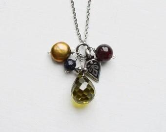 Olive Drop Necklace // Gemstones // Natural Stones