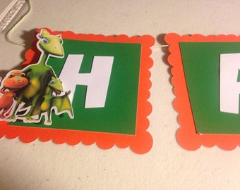 Dinosaur Train Happy Birthday Banner with Name and Age