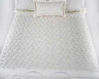 CLEARANCE** LINEN LACE Queen Bedding Set | Ivory Linen - Lace Queen Duvet |Two Euro And Two Standard Shams Included | Linen Ruffle | Sale!