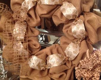 18in burlap wreath with cream/gold polka dot ribbon