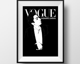 Lady Gaga Vogue Hommes Magazine Cover Poster - Graphic Illustration A4 - Art Print