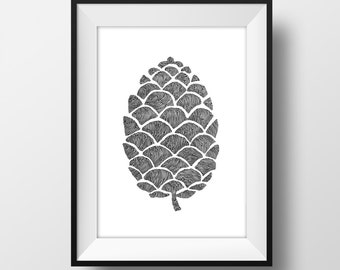 Pinecone Line and Circle Illustration Print - Ink- Drawing - Art