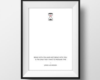 Borges - Time - Quote Poster A4  - Quality Art Print