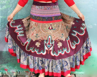 Gypsy fantasy embroidered tribal hippie boho skirt