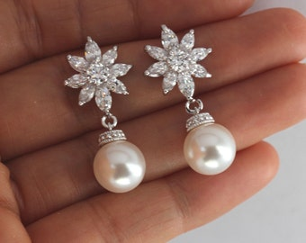 round drop bridal earring , bridesmaid white pearl earring , drop wedding earring