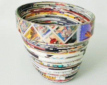 Paper Bowl, Oval Rolled Paper Bowl, Handmade, Coiled Paper, Recycled Art, Recycled Paper Gifts