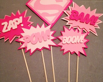 Supergirl Centerpiece, 5pc, Superhero party, Supergirl Party, Supergirl Birthday Party
