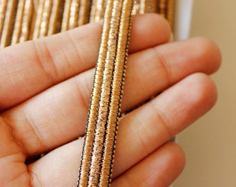 Copper Thread Stripes One Yard Lace Trim 12mm Wide - 030315L77