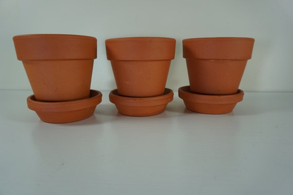 Terracotta pots and saucers small clay planters with bases 3 for Small clay pots