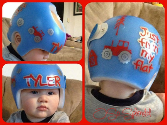 Personalized cranial band farm tractor decals for Baby cranial helmet decoration