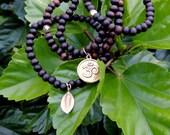 SHOP CLOSING 30% OFF 6mm Wood Beads Tibetan Buddhist Buddha Prayer Bracelet Set Gold Om Charm Gold Leaf Charm