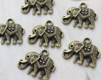 10 Elephant Charms Elephant Pendants Antiqued Bronze Tone 22 x 15mm