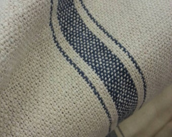 "SALE Grain Sack Fabric By The Yard - Farmhouse Cream Fabric - Blue 3 Stripe - 54"" Wide - Upholstery Fabric - WAS 14.99"