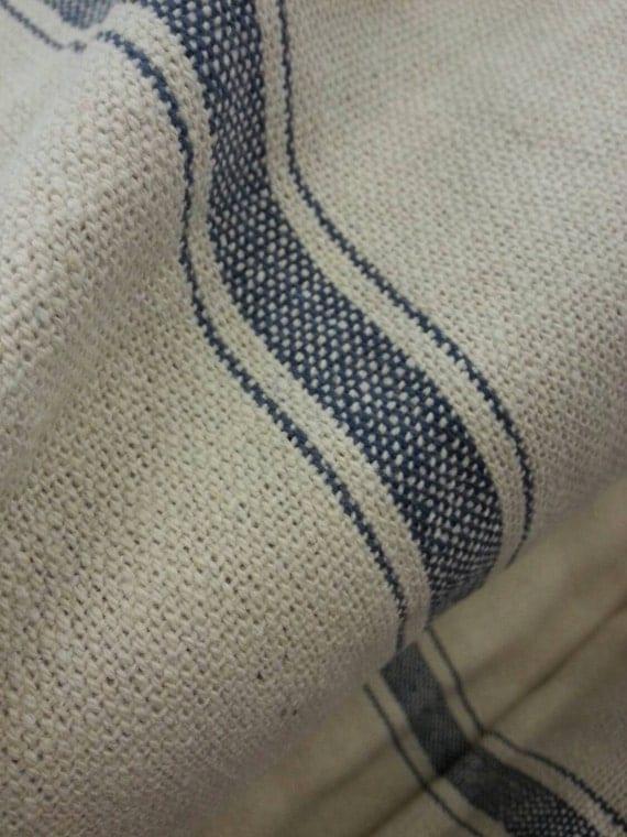 French Grain Sack Fabric Farmhouse Cream Fabric Blue 3