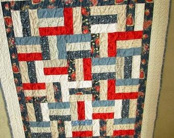 Red/White/Blue  Split Rail lap quilt