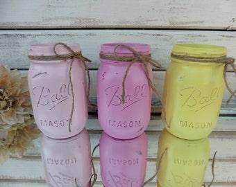 "CHOOSE COLOR ""Spring Bouquet"" Pink & Yellow Distressed Ball Jars - Painted Mason Jar Vase Wedding Centerpiece Decor"