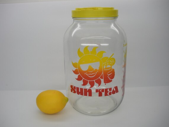 Sun Tea Glass Pitcher With Flip Top Pouring By Thatretrochick
