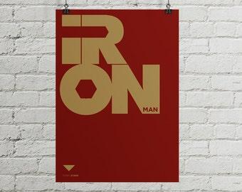 Iron man poster, Iron man print, Iron man typography, Ironman poster, typography poster