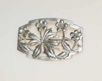"Embossed Silver Plate Posy Flower 2 3/8"" Pin Brooch"