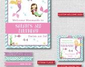 Mermaid Birthday Party Printable Kit - Mermaid Themed Birthday Party Decor - DIGITAL DESIGN