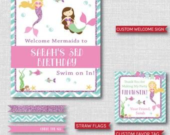 Mermaid Birthday Party Printable Package - Mermaid Themed Birthday Party Decor - DIGITAL DESIGN