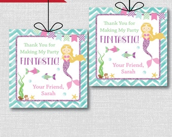 Mermaid Birthday Party Favor Tags - Mermaid Themed Birthday - Digital Design or Handcrafted Tags - FREE SHIPPING