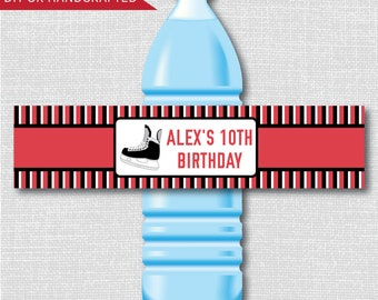 Ice Hockey Party Water Bottle Labels - Red and Black Hockey Birthday Party - Weatherproof Labels - Digital or Handcrafted - FREE SHIPPING