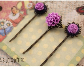 3 pcs Antique Bronze Hair Pins with Purple Flower Cabochon - Gift (HP1)