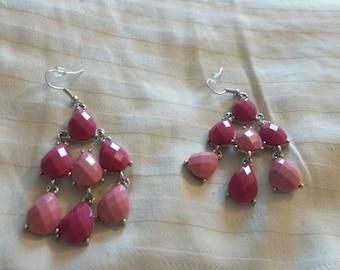 On Sale Tear Drop Light and Dark Pink Dangle Earrings Silver Tone Costume Jewelry