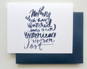 Sympathy Card, Hand Lettered Literary Quote Greeting Card