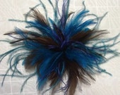 Handmade teal, turquoise, royal blue, dark brown ostrich feather fascinator hair clip accessory Bridal Derby hat