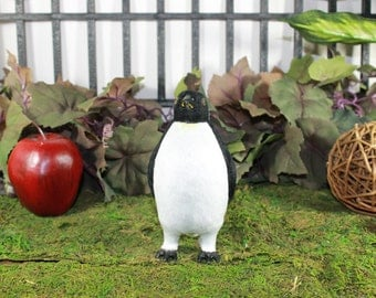 Penguin Black and White Furry Animal Stand Figurine Mythical Small
