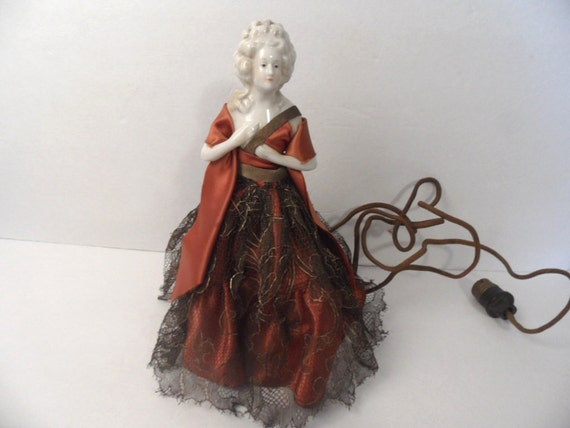 Antique Porcelain Half Doll Lamp With Original Plug
