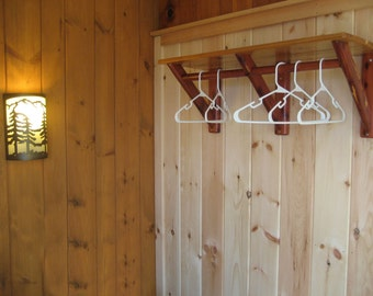 Cedar Shelf with Hanging Rod - Hotel, Lodge, or Cabin Decor
