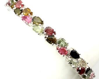 20.70ct Fancy Color Tourmaline Sterling Silver Bracelet 7.5 inch