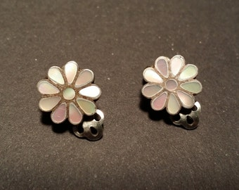 1970's Old Pawn Mother of Pearl Inlay Flower Earrings clip on backs