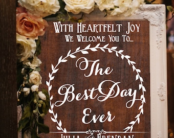 Wooden Wedding Sign • The Best Day Ever • Welcome To Our Wedding • Custom Wedding Signage
