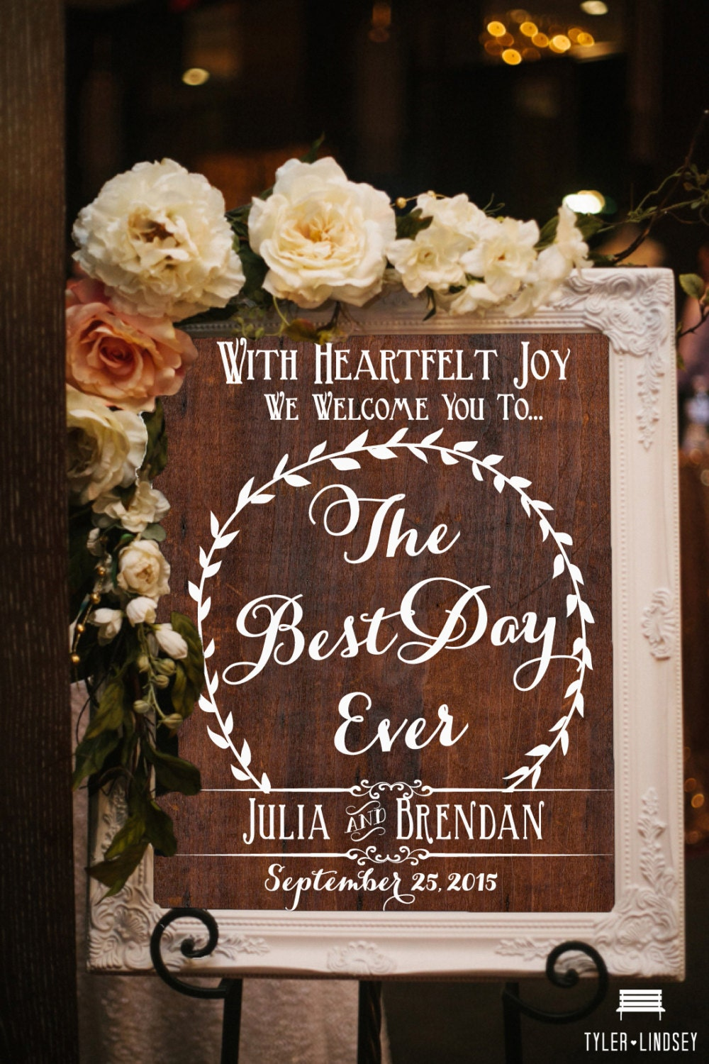 Wooden wedding sign the best day ever welcome to our for Best day for a wedding
